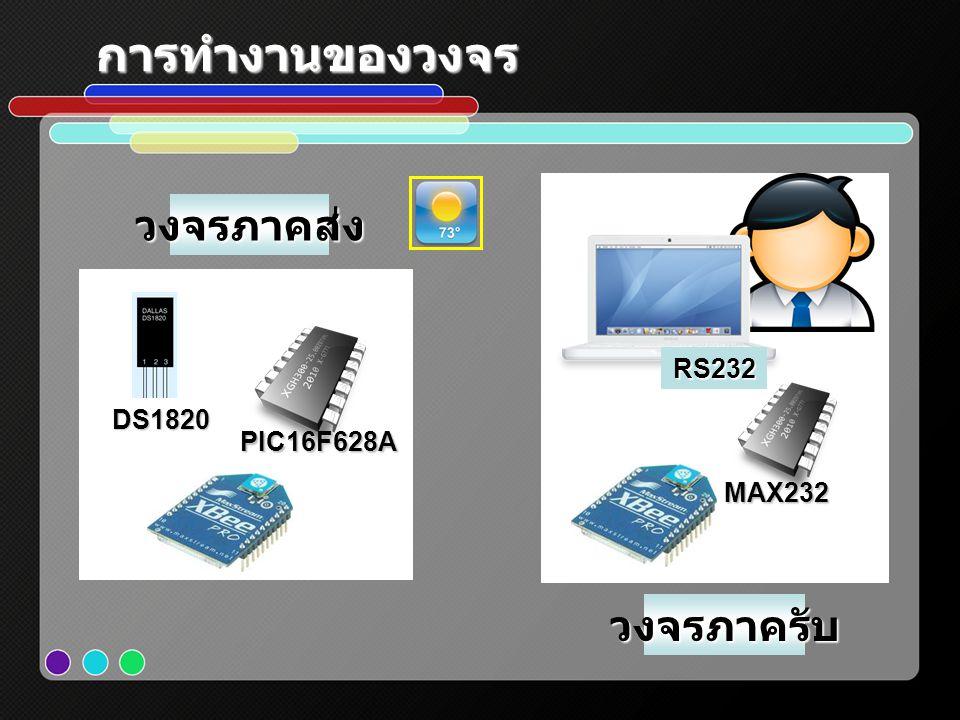 การทำงานของวงจร วงจรภาคส่ง RS232 DS1820 PIC16F628A MAX232 วงจรภาครับ