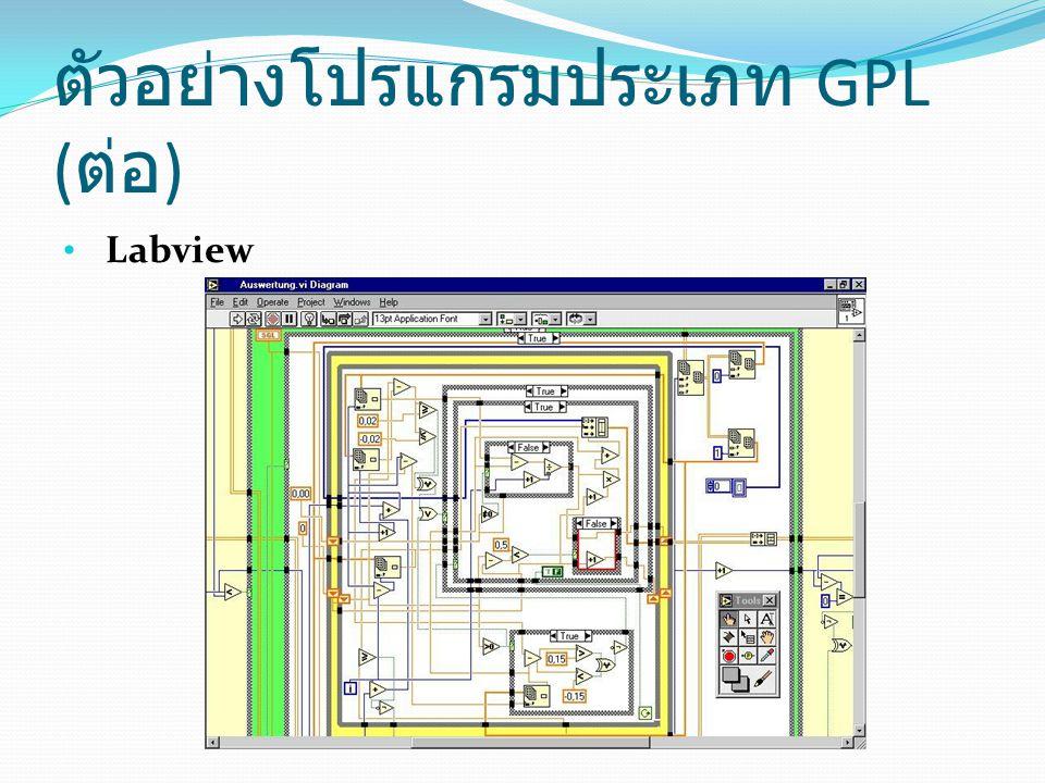 ตัวอย่างโปรแกรมประเภท GPL (ต่อ)