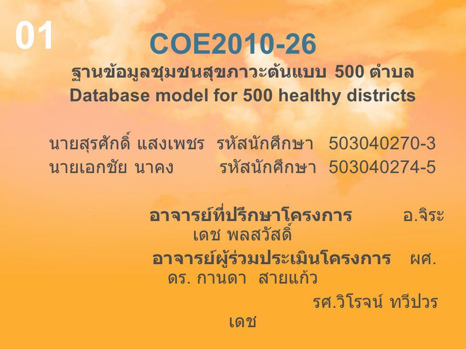01 COE2010-26 ฐานข้อมูลชุมชนสุขภาวะต้นแบบ 500 ตำบล
