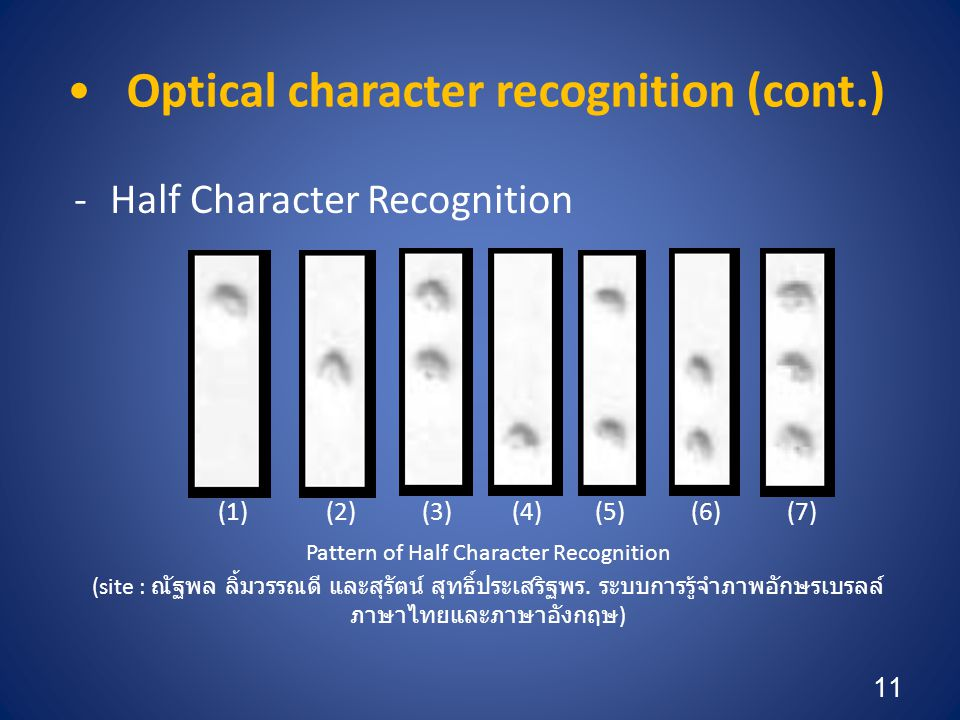 Optical character recognition (cont.)
