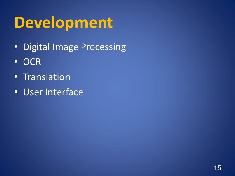 Development Digital Image Processing OCR Translation User Interface