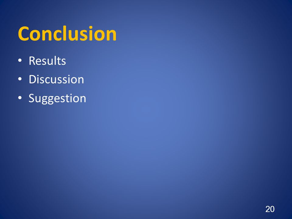 Conclusion Results Discussion Suggestion