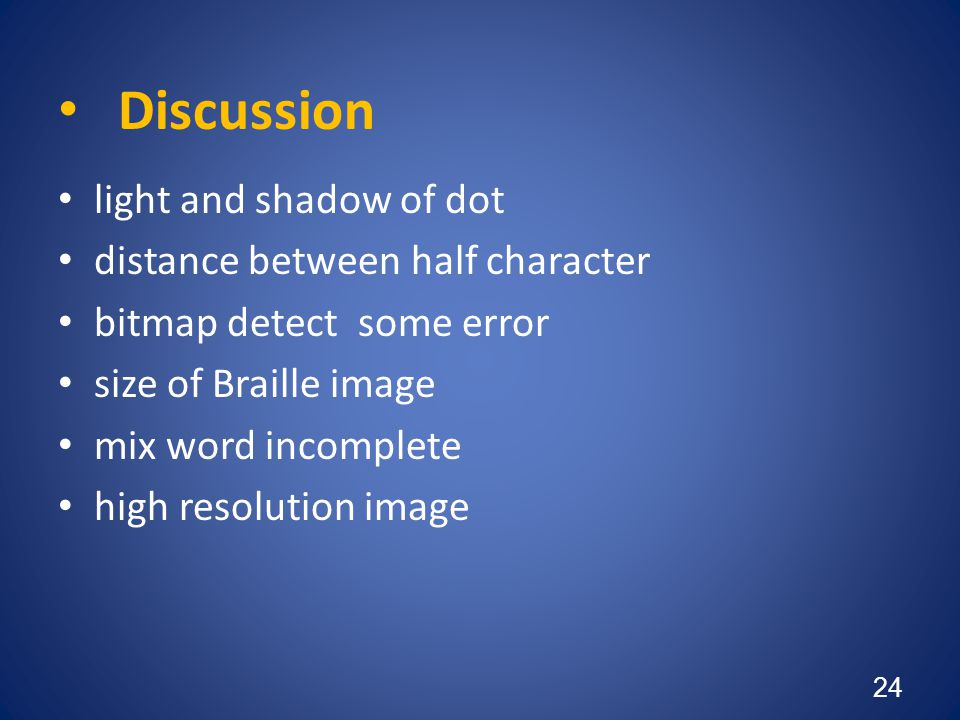 Discussion light and shadow of dot distance between half character