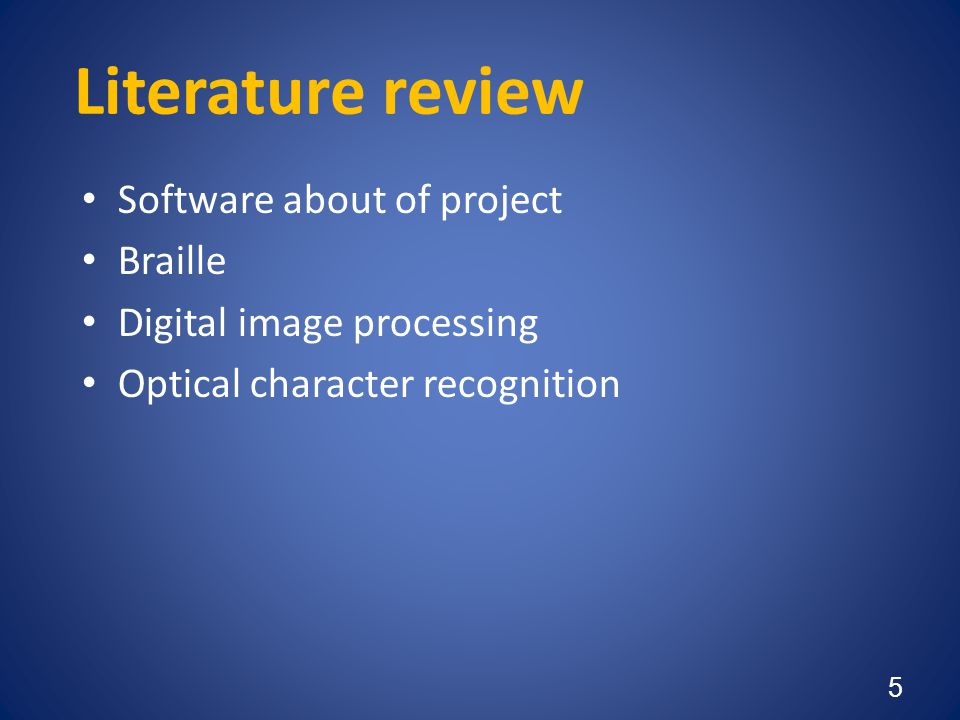 Literature review Software about of project Braille