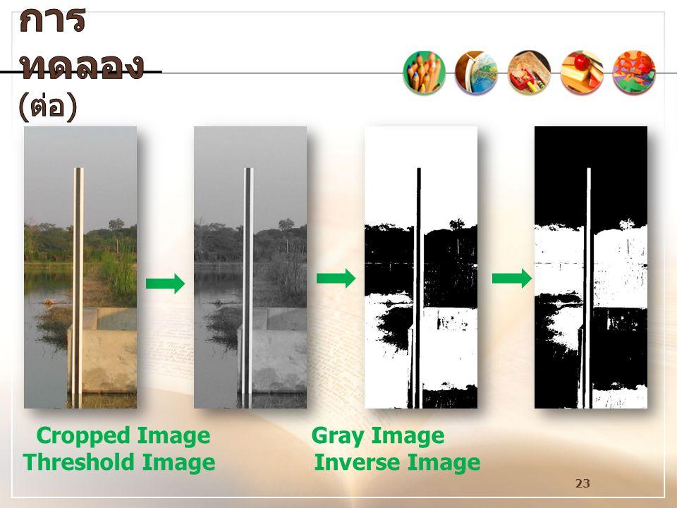 การทดลอง(ต่อ) Cropped Image Gray Image Threshold Image Inverse Image.