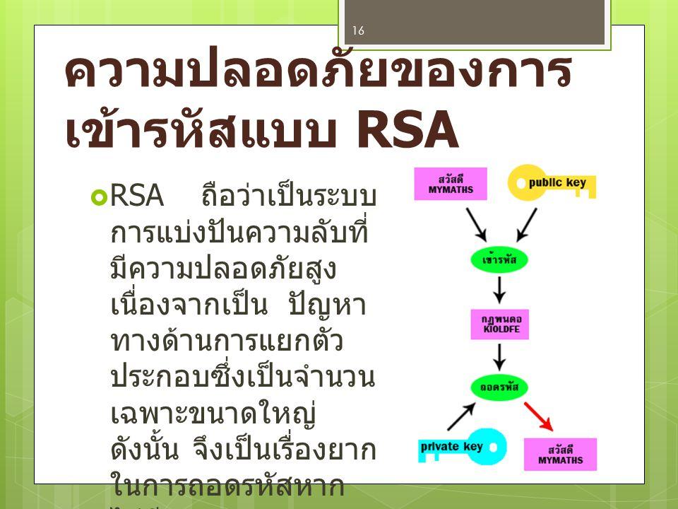 ความปลอดภัยของการเข้ารหัสแบบ RSA
