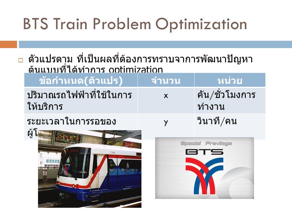 BTS Train Problem Optimization