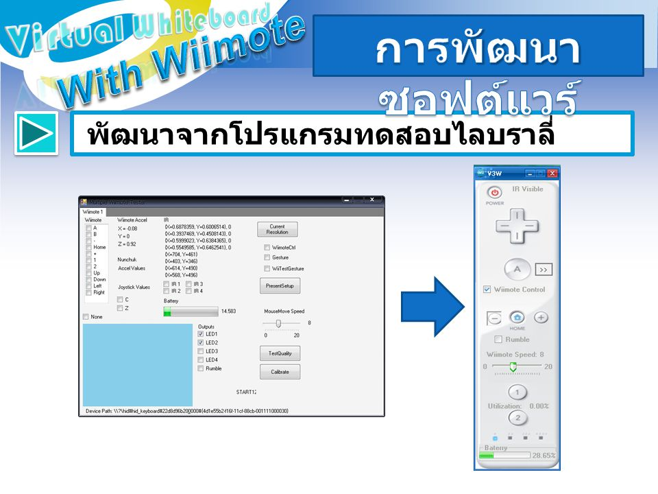 การพัฒนาซอฟต์แวร์ With Wiimote Virtual Whiteboard