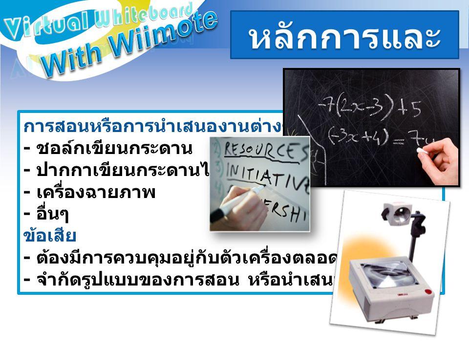 หลักการและเหตุผล With Wiimote Virtual Whiteboard