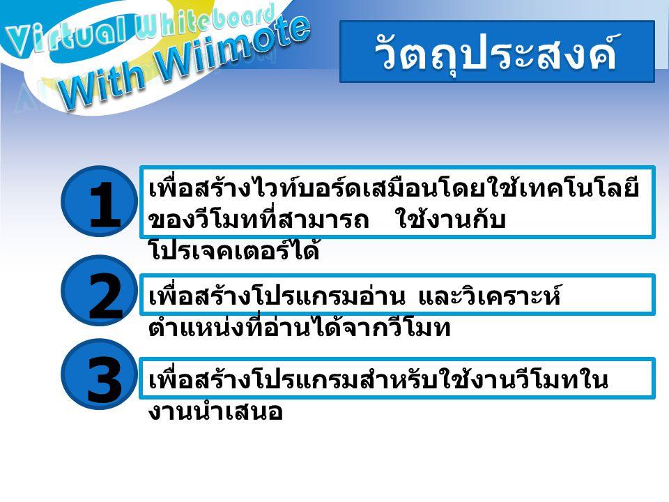 1 2 3 With Wiimote วัตถุประสงค์ Virtual Whiteboard