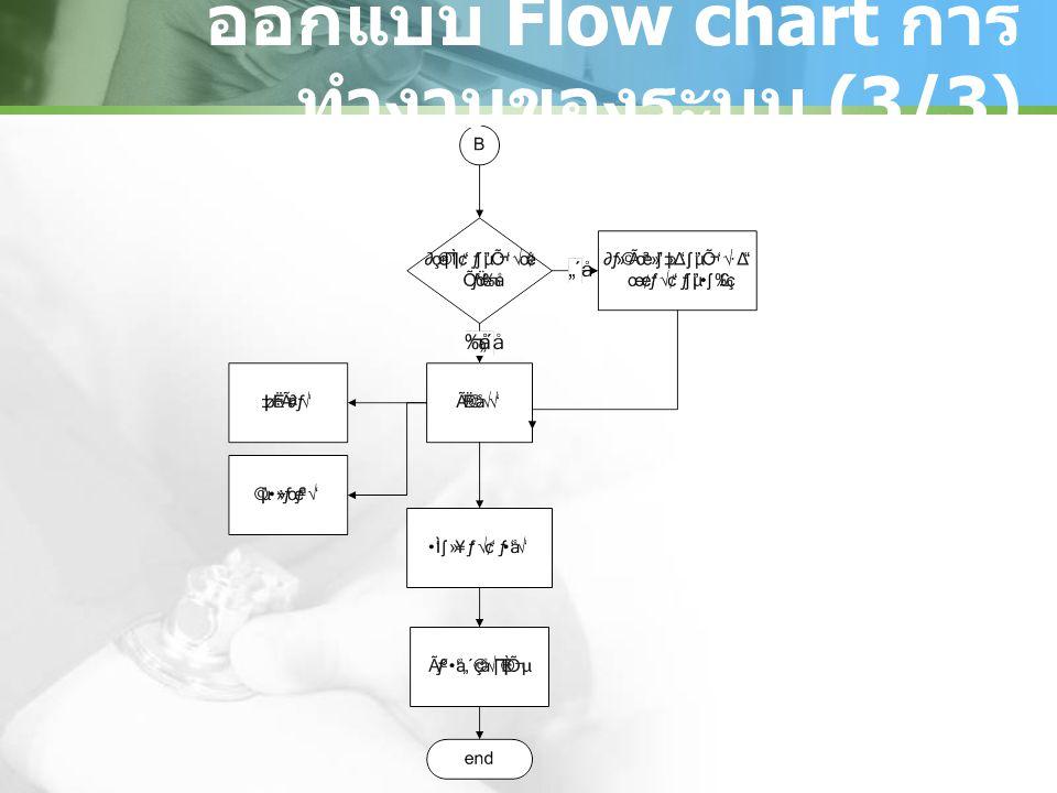 ออกแบบ Flow chart การทำงานของระบบ (3/3)