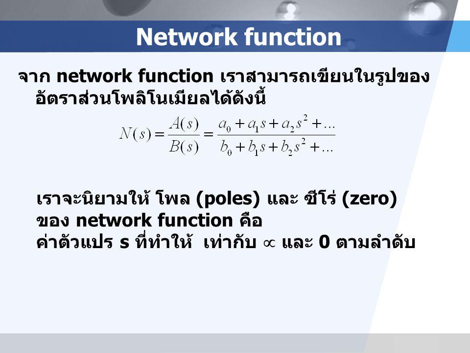 Network function จาก network function เราสามารถเขียนในรูปของอัตราส่วนโพลิโนเมียลได้ดังนี้