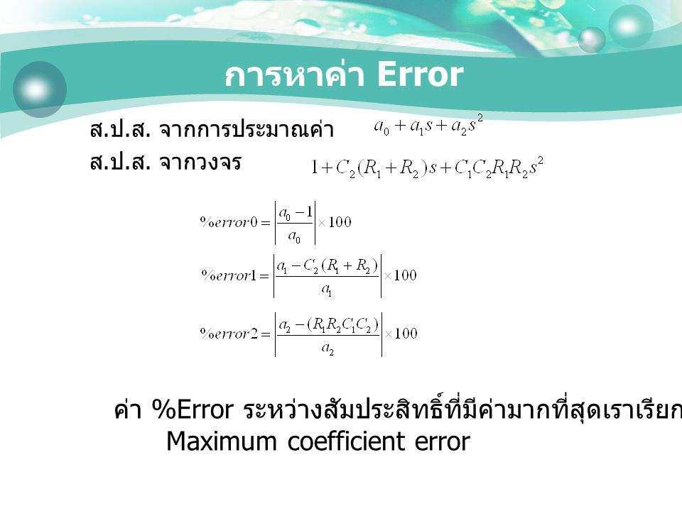 Maximum coefficient error