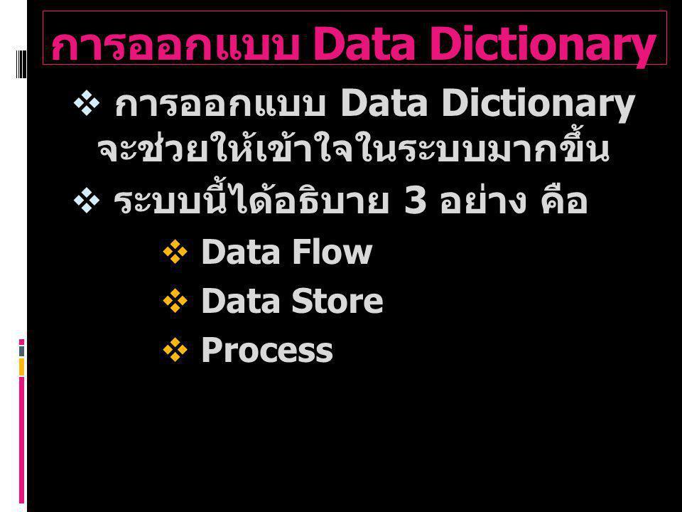 การออกแบบ Data Dictionary