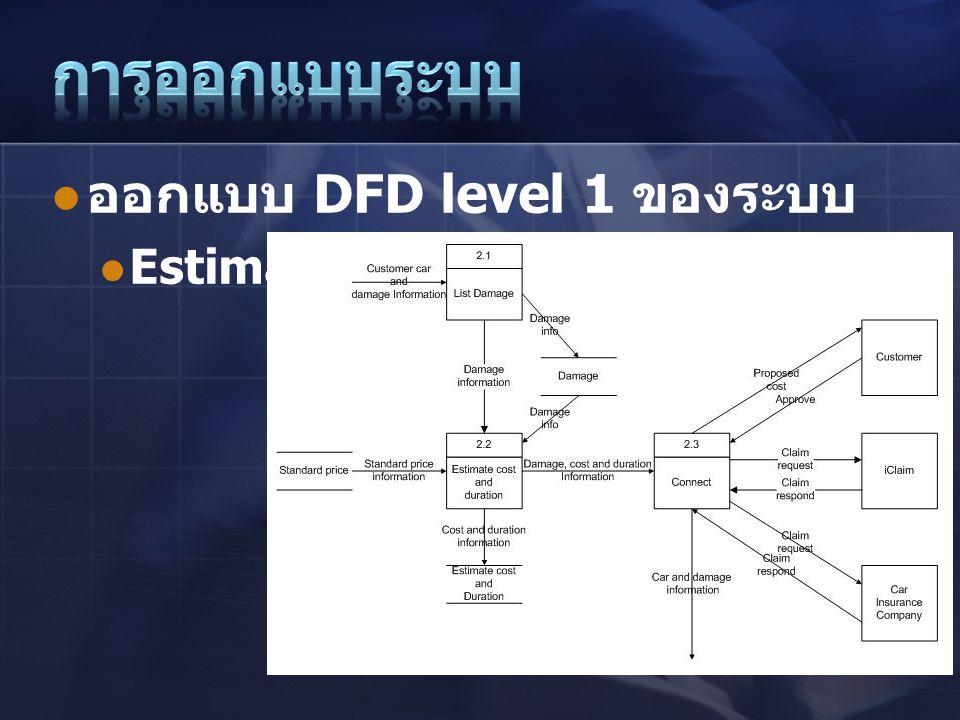 การออกแบบระบบ ออกแบบ DFD level 1 ของระบบ Estimate