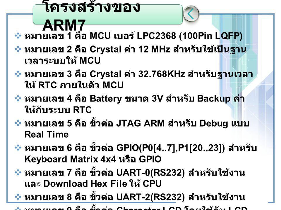 โครงสร้างของ ARM7 หมายเลข 1 คือ MCU เบอร์ LPC2368 (100Pin LQFP)