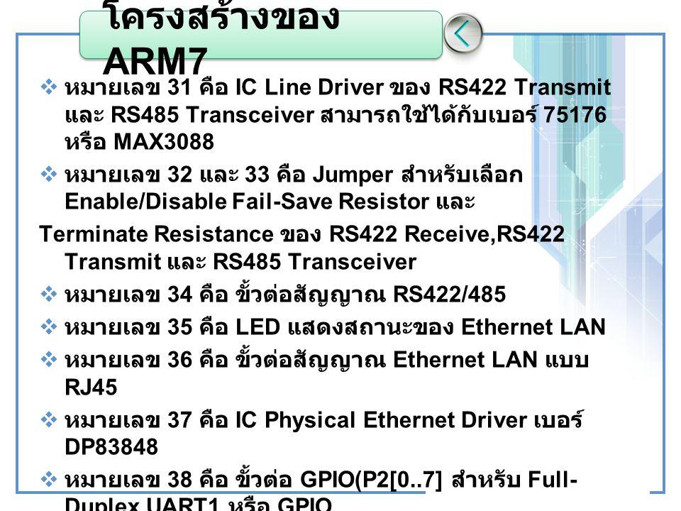 โครงสร้างของ ARM7 หมายเลข 31 คือ IC Line Driver ของ RS422 Transmit และ RS485 Transceiver สามารถใช้ได้กับเบอร์ 75176 หรือ MAX3088.