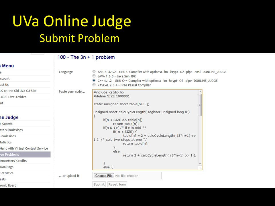 UVa Online Judge Submit Problem