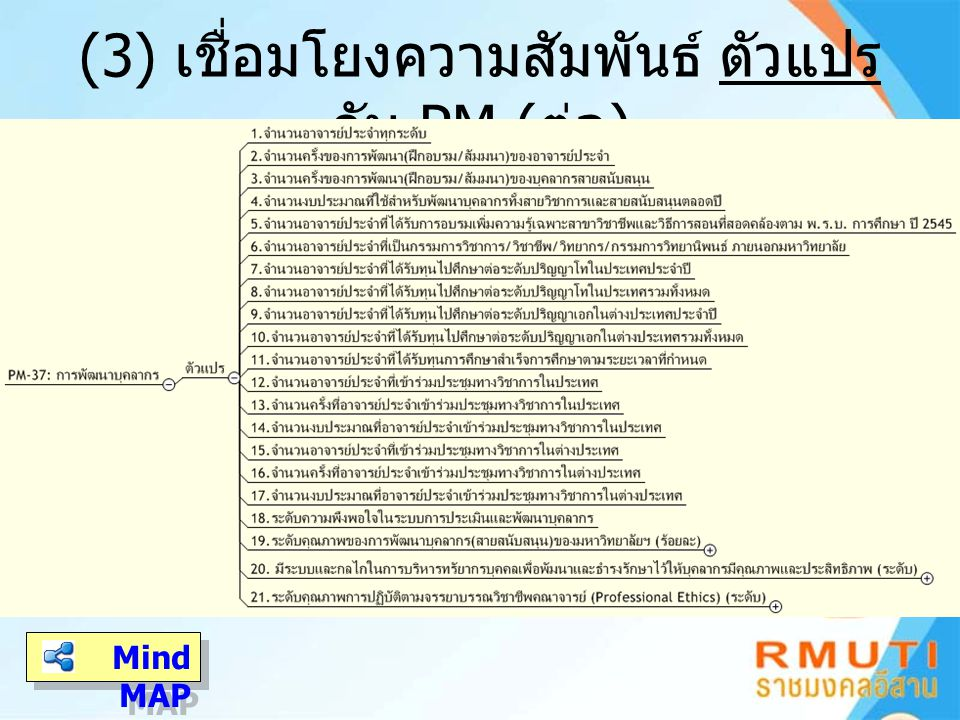 (3) เชื่อมโยงความสัมพันธ์ ตัวแปร กับ PM (ต่อ)