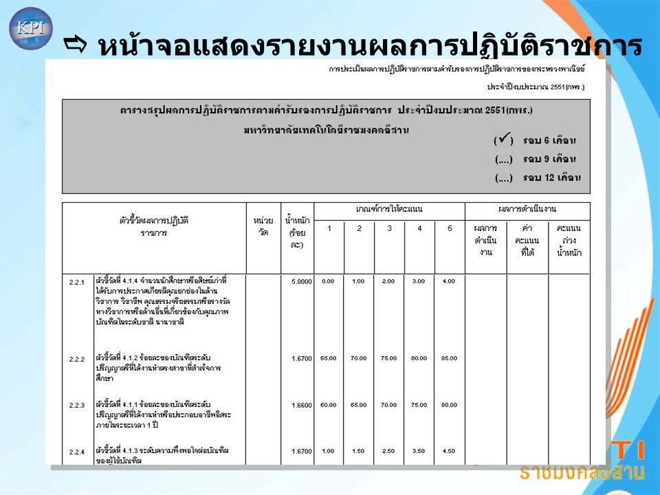  หน้าจอแสดงรายงานผลการปฏิบัติราชการ