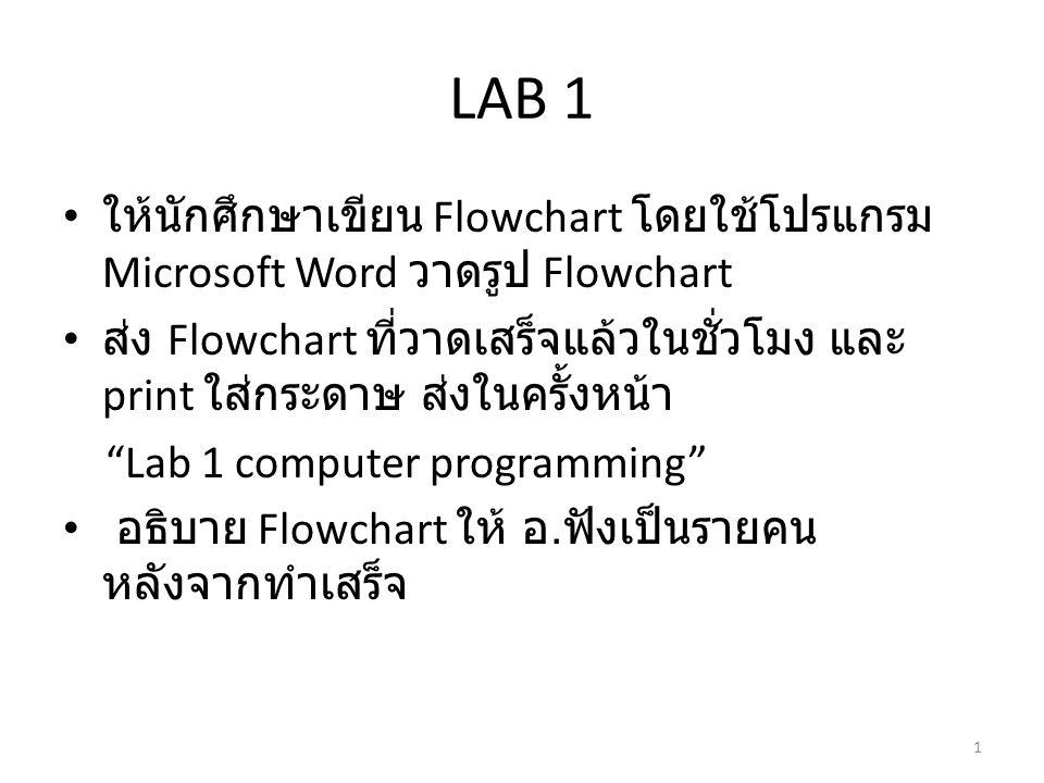 LAB 1 ให้นักศึกษาเขียน Flowchart โดยใช้โปรแกรม Microsoft Word วาดรูป Flowchart.
