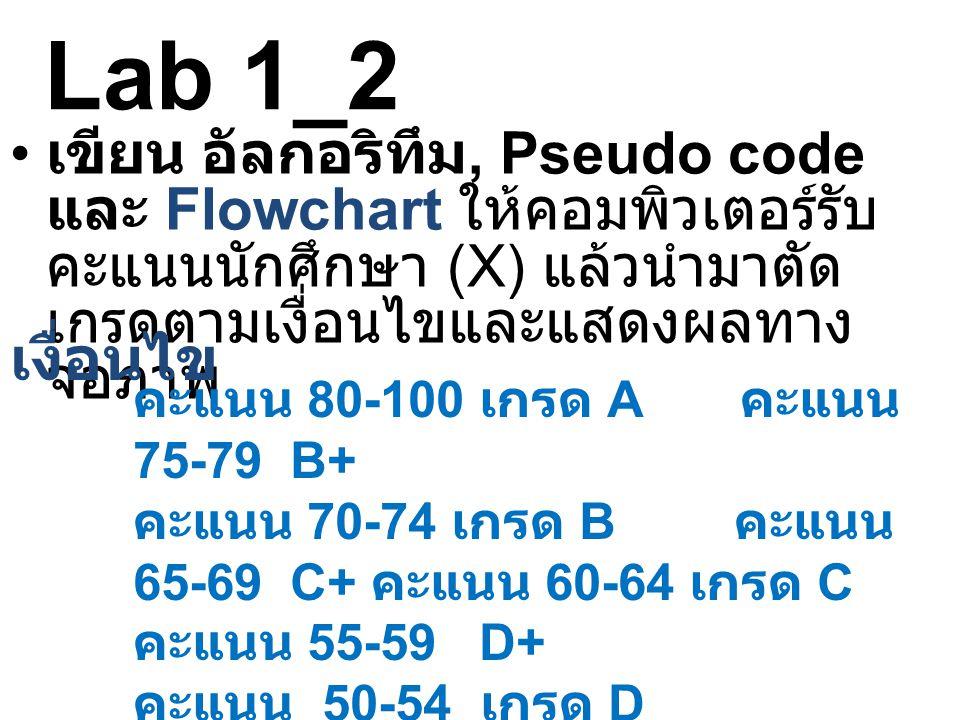 Lab 1_2 เขียน อัลกอริทึม, Pseudo code และ Flowchart ให้คอมพิวเตอร์รับคะแนนนักศึกษา (X) แล้วนำมาตัดเกรดตามเงื่อนไขและแสดงผลทางจอภาพ.