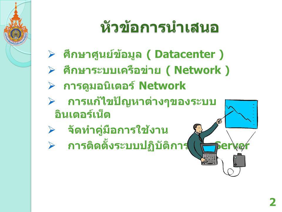 หัวข้อการนำเสนอ ศึกษาศูนย์ข้อมูล ( Datacenter )