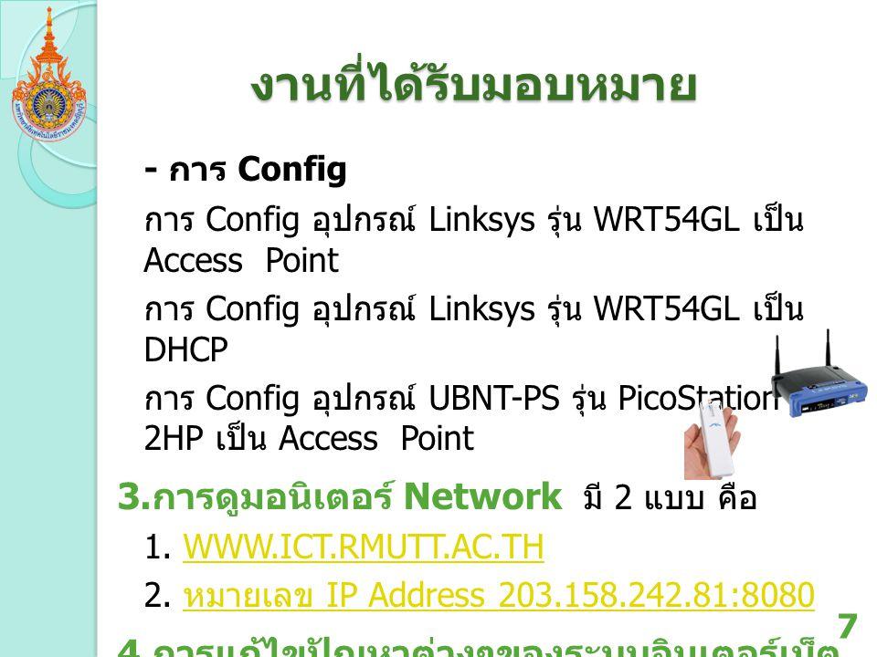 งานที่ได้รับมอบหมาย - การ Config 3.การดูมอนิเตอร์ Network มี 2 แบบ คือ