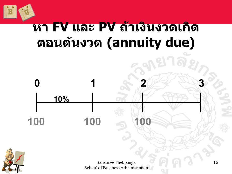 หา FV และ PV ถ้าเงินงวดเกิดตอนต้นงวด (annuity due)
