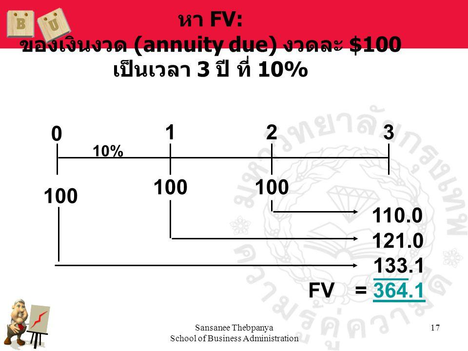 หา FV: ของเงินงวด (annuity due) งวดละ $100 เป็นเวลา 3 ปี ที่ 10%