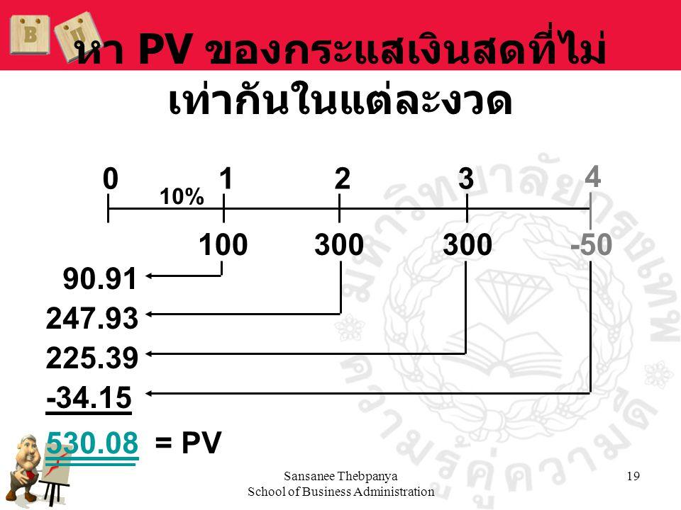 หา PV ของกระแสเงินสดที่ไม่เท่ากันในแต่ละงวด