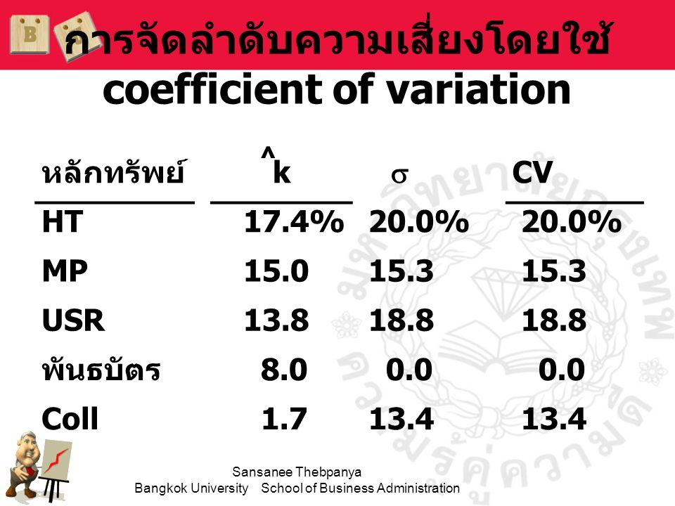 การจัดลำดับความเสี่ยงโดยใช้ coefficient of variation