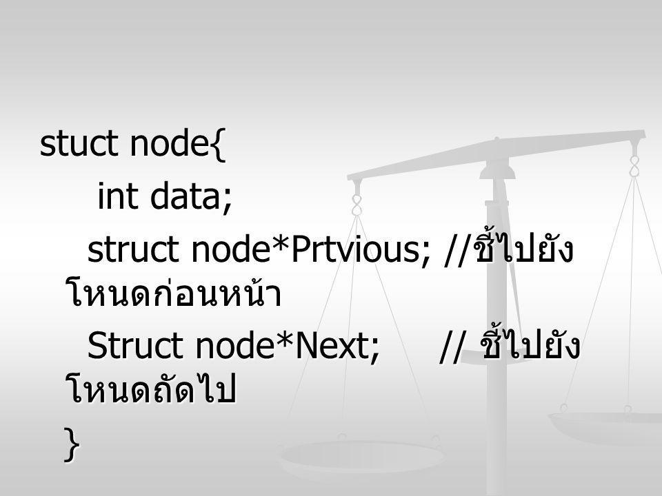 stuct node{ int data; struct node*Prtvious; //ชี้ไปยังโหนดก่อนหน้า. Struct node*Next; // ชี้ไปยังโหนดถัดไป.