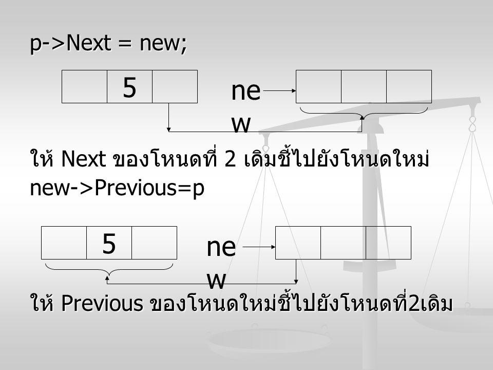5 new 5 new p->Next = new;