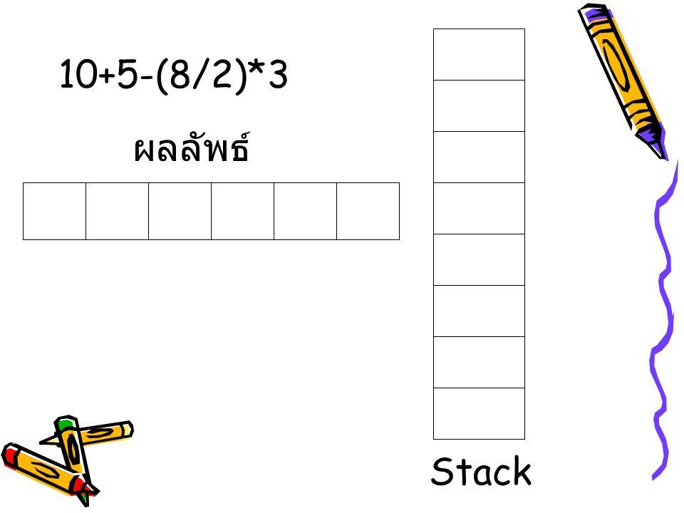 10+5-(8/2)*3 ผลลัพธ์ Stack