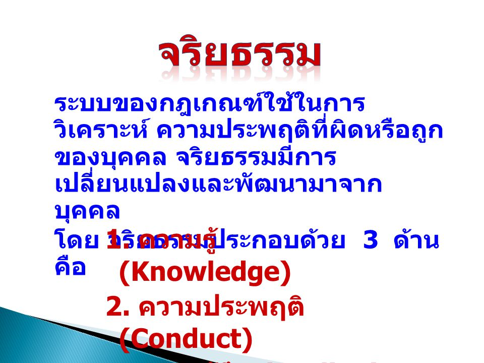 จริยธรรม 1. ความรู้ (Knowledge) 2. ความประพฤติ (Conduct)