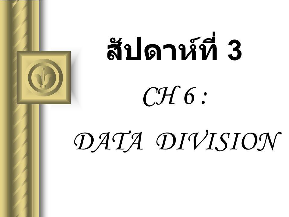 สัปดาห์ที่ 3 CH 6 : DATA DIVISION