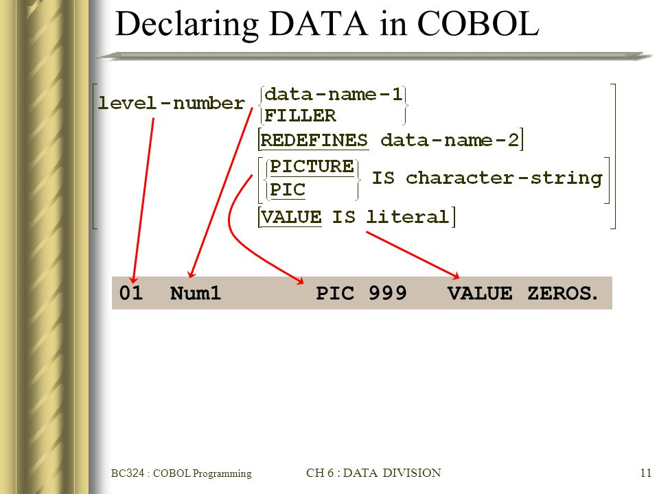 Declaring DATA in COBOL