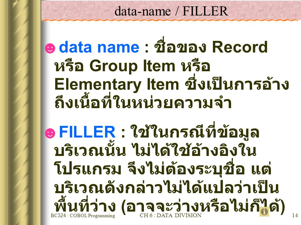 data-name / FILLER data name : ชื่อของ Record หรือ Group Item หรือ Elementary Item ซึ่งเป็นการอ้างถึงเนื้อที่ใน หน่วยความจำ.