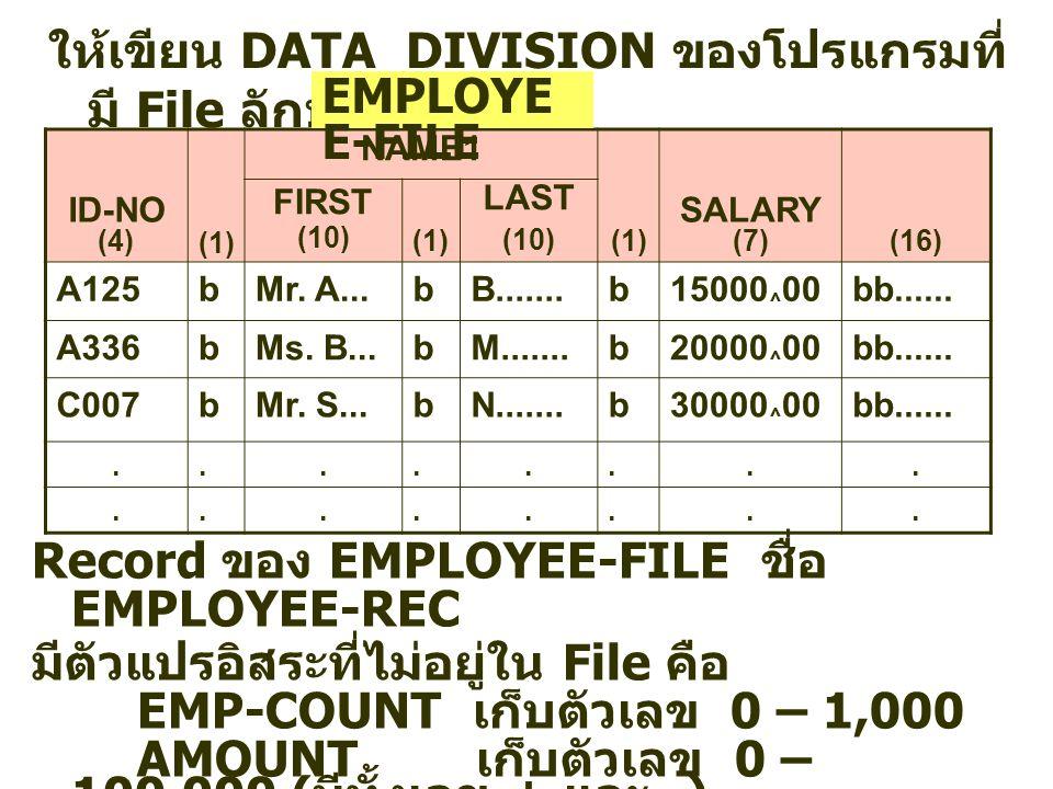 ให้เขียน DATA DIVISION ของโปรแกรมที่มี File ลักษณะดังนี้