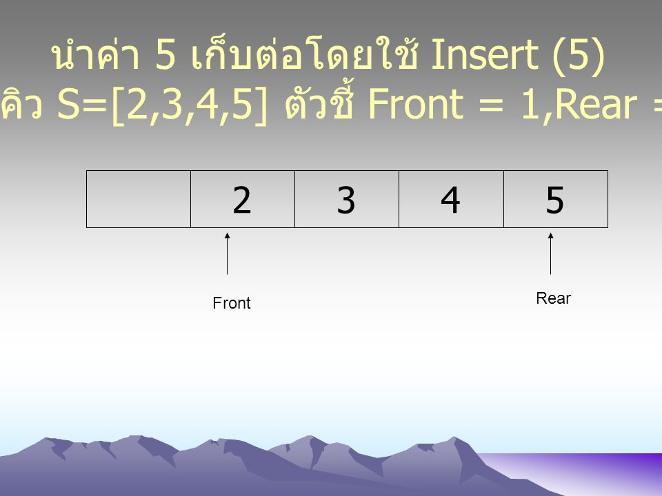 นำค่า 5 เก็บต่อโดยใช้ Insert (5)