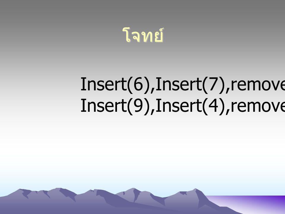 โจทย์ Insert(6),Insert(7),remove() Insert(9),Insert(4),remove()