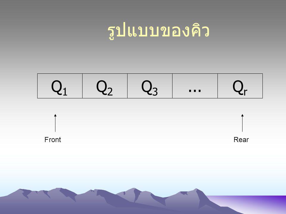 รูปแบบของคิว Q2 Q3 ... Qr Q1 Front Rear