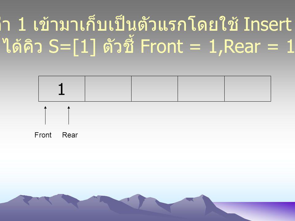 นำค่า 1 เข้ามาเก็บเป็นตัวแรกโดยใช้ Insert (1)