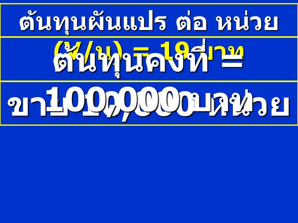 ต้นทุนผันแปร ต่อ หน่วย (V/น) = 19 บาท