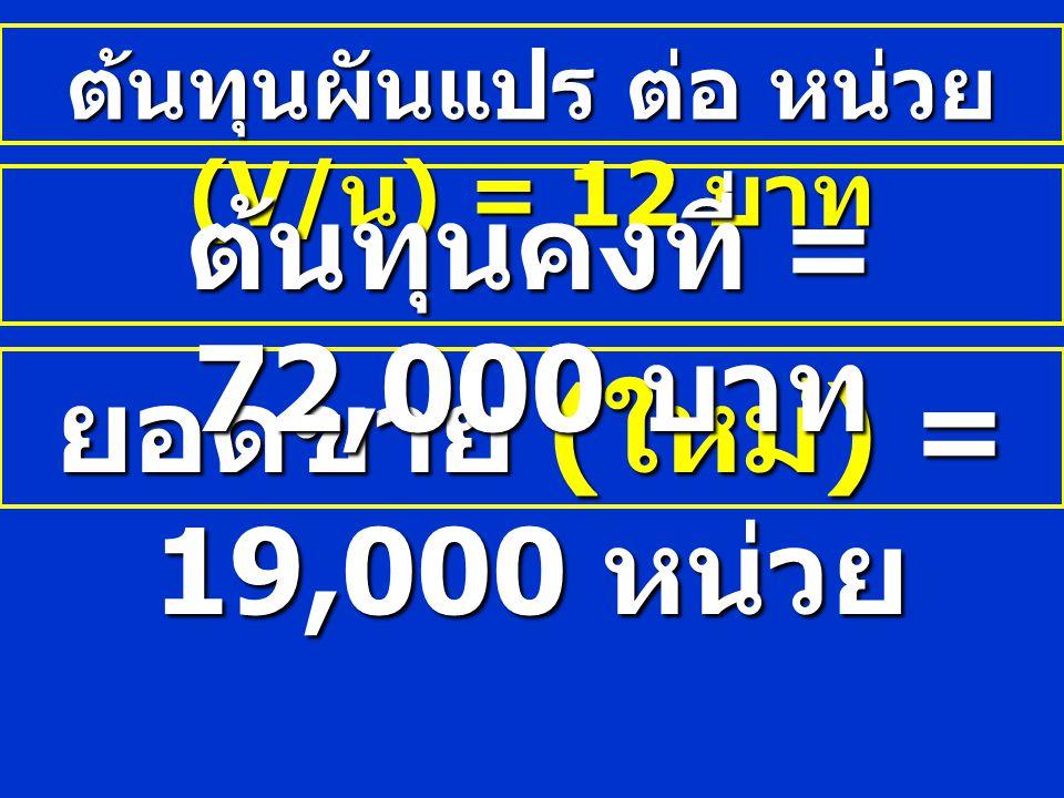 ต้นทุนผันแปร ต่อ หน่วย (V/น) = 12 บาท
