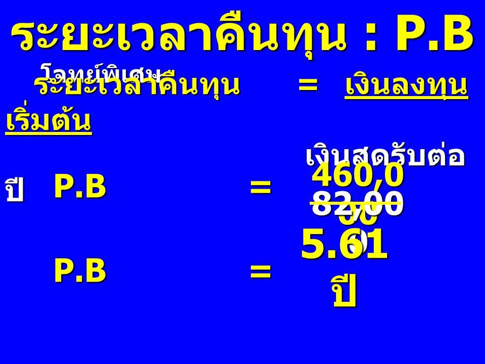 ระยะเวลาคืนทุน : P.B 5.61 ปี P.B = 460,000 82,000 P.B =