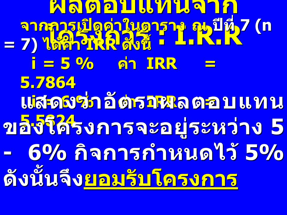 ผลตอบแทนจากโครงการ : I.R.R