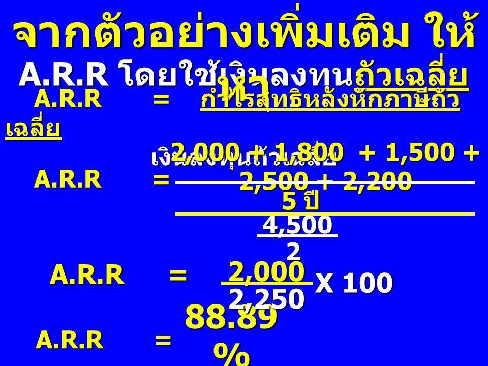 จากตัวอย่างเพิ่มเติม ให้หา A.R.R โดยใช้เงินลงทุนถัวเฉลี่ย
