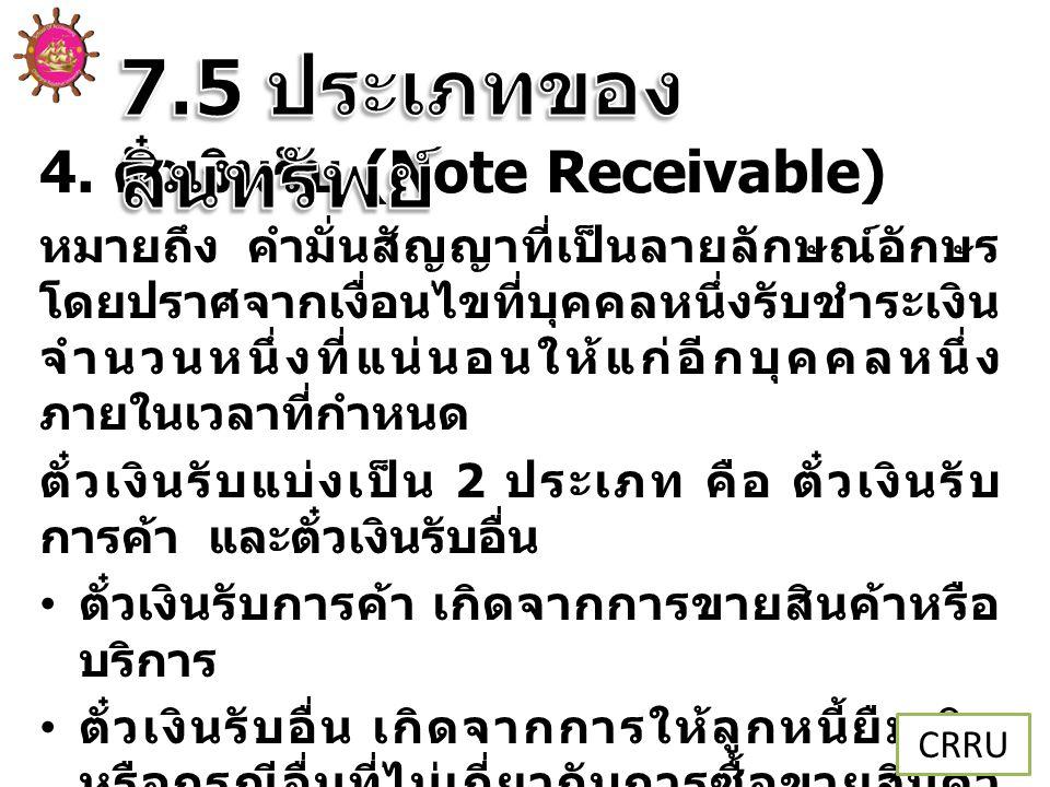 7.5 ประเภทของสินทรัพย์ 4. ตั๋วเงินรับ (Note Receivable)